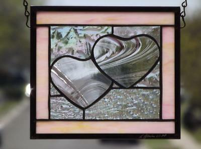 """2 Hearts as 1""Stained Glass Window Hanging Suncatcher • 9 ½""x8 ½"" (45x17cm)"