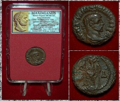 Ancient Roman Empire Coin MAXIMIANUS Alexadria holding Head of Serapis