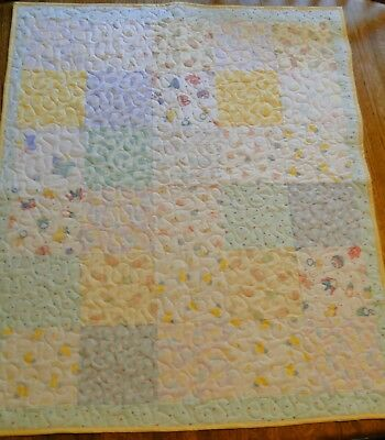 """Handmade Quilt, Machine Quilted, 29 """"x 35"""" Baby Boy or Girl,Toddler Blanket"""