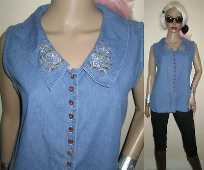 Vtg 90s sleeveless embroidery DENIM JEAN SHIRT tunic TOP M L