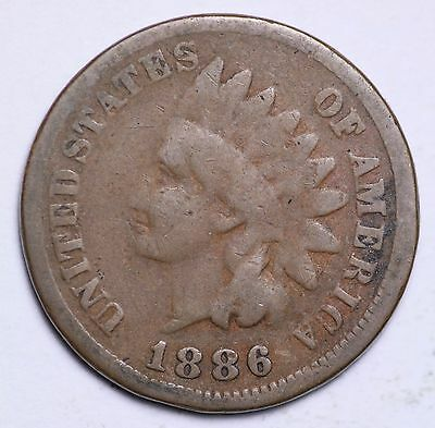 1886 Indian Head Cent Penny Type 1 / Circulated Grade Good / Very Good Coin