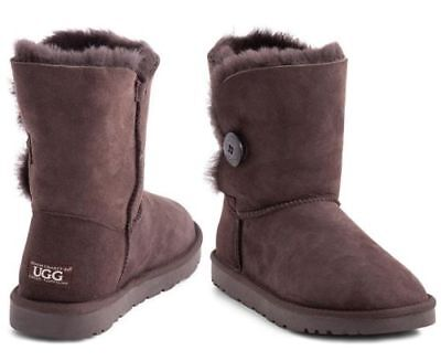 OZWEAR Connection Unisex Button Ugg Boot - Chocolate
