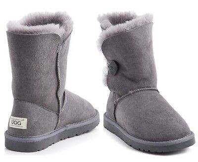 OZWEAR Connection Unisex Button Ugg Boot - Charcoal