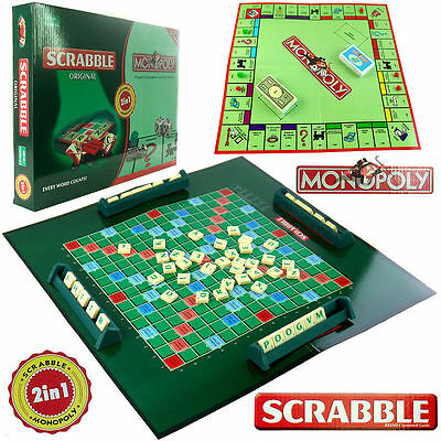 2 In 1 Scrabble + Monopoly Family Party Board Travel Children Game Education Toy