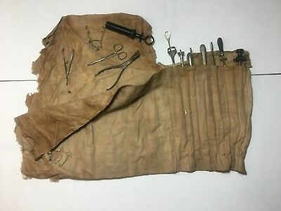 19th Century Surgical Operating Kit In Roll Out Cloth 13 Surgical Instruments