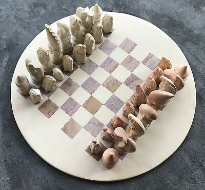 Stone chess set with round board