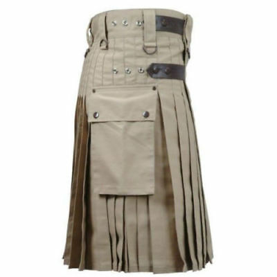 Men Khaki Deluxe Utility Modern Kilt Leather Straps 100% Cotton Handmade