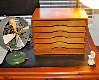Vintage Wooden Adjustable Document Filing Shelf Unit Retro Paper Desk File Trays