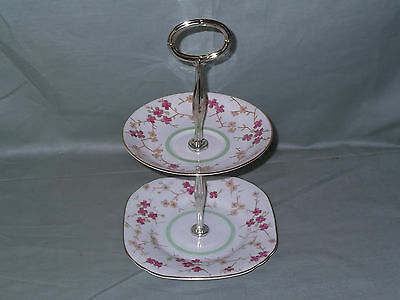 Vintage Wellington Bone China Small 2-Tier Biscuit Cake Plate Stand Patt.7493