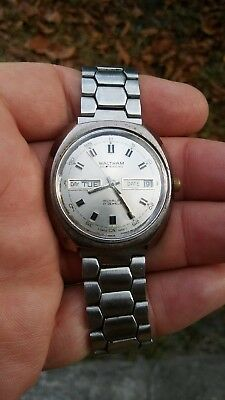 Vintage Waltham Selfwinding Day And Date Men's Wrist Watch Swiss Made. Works!