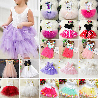 Kid Girls Princess Tulle Tutu Dress Party Wedding Bridesmaid Birthday Holiday AU