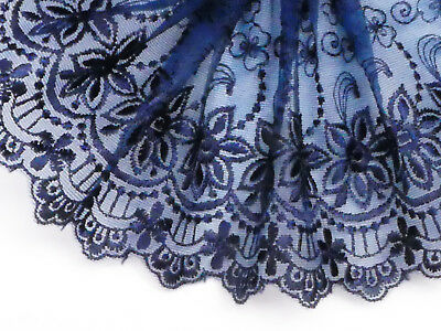 """5 METRES Beautiful Navy Blue Embroidered Tulle Lace Trim 5""""/13cm TOP SELLER"""