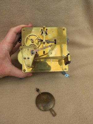 Vintage Fhs Westminster Chime Mantel Clock Movement And Pendulum Lot 1A