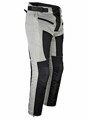Mens Motorcycle Riding Pants Grey Black Mesh with CE Approved Armor PT09