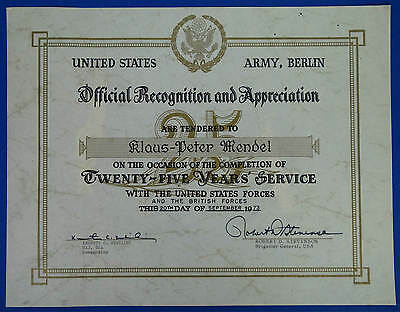 US Forces Berlin Urkunde 1973 Recognition Appreciation 25 Dienstjahre Service