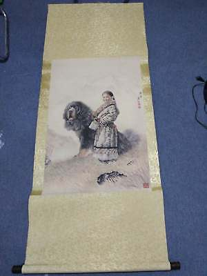 Excellent old Chinese Scroll Painting By Tang Jian: Tibetan mastiff c156