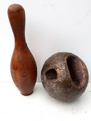 Antique 19th C wooden bowling ball and wooden bowling pin,rare find,decorative