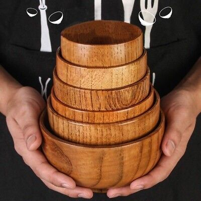 Japanese Wooden Bowl Round Soup Rice Cereal Food Serving Wood Tableware Retro