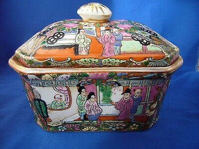 Vintage Chinese pottery box / jar / dish. Famille rose decorated.
