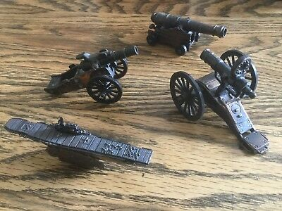 Lot of 4 Vintage Metal Die Cast Pencil Sharpeners Cannons (3) and Ship