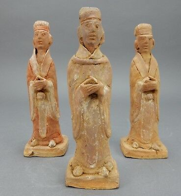 Amazing set of (3)  Chinese Tang dynasty Terra-cotta Funerary Statues 8 inches