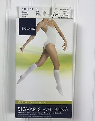 Sigvaris Womens Casual Cotton Brown Socks 146CC11 Size C 15-20 mmHg Knee High
