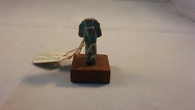 Ancient Egyptian Faience Amulet of Shu , Late Period  Fine Detail on wood base