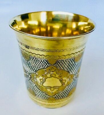 Large Antique Imperial Russian 84 Silver Niello Enamel Beaker Cup