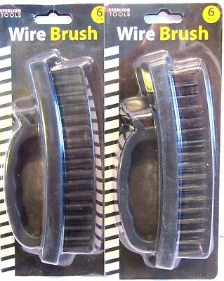 """Wire Brush 6.5"""" Large Heavy Duty Stainless Steel W/Plastic Grip Handle (2Pc)"""