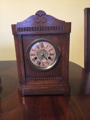 HAC Wurtemberg Antique Oak Mantle Clock