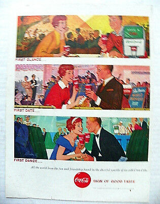 """1958 DEC.1 LIFE MAG. """"1st GLANCE..1st DATE..1st. DANCE.."""" COUPLE AT DIFF. EVENTS"""