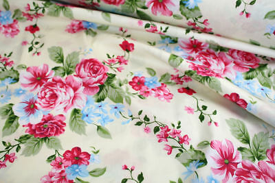 "Pink Rose Floral 100% cotton fabric sold by meter 63""width [1805014]"
