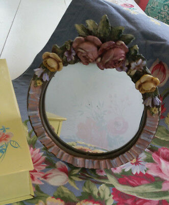 NR Vintage Round Barbola Mirror Easel Roses Pink Yellow Blue Shabby Chippy