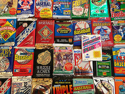 HUGE Lot of Cards (80) in Vintage Unopened Wax Packs + 2 BONUS RC / Insert Cards