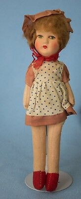 """10"""" Vintage Molded Papermache Doll w Cloth Body (1920? 1930?)"""