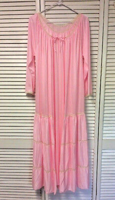 Vintage NAN FLOWER Pink Drop Waist Tiered Lace Nightgown Robe Gown Set SMALL