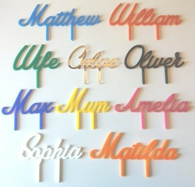 PERSONALISED NAME & COLOUR FONT CAKE TOPPER birthday decoration party 10 colours