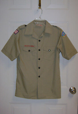 BOY SCOUTS OF AMERICA YOUTH LARGE TAN UNIFORM SHIRT Stains & Small Hole-See pics