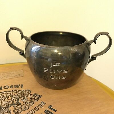 Vintage Pairpoint Silver Plated Two Handled Trophy Cup - 1st Boys 1938