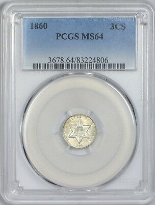 1860 Three Cent Silver Piece (Trime) PCGS MS64 - White