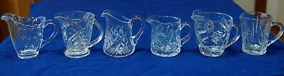 7 Jugs Creamers Assorted designs Glass Crystal