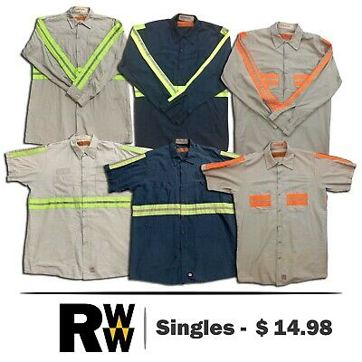 Red Kap Reflective Shirt Hi Vis Short Long Sleeve Men's Work Uniform Gray / Navy