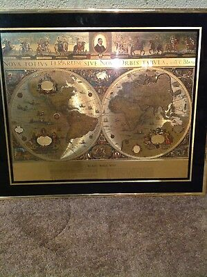 "Vintage Gold Foil Blaeu Wall Map 20x24"" handcrafted by Kafka Industries 684"