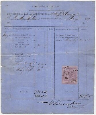 Military: 103rd Regiment of Foot Statement for Staff Surgeon CMM Miller 1869