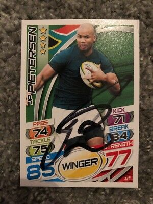 Signed JP Pietersen South Africa Rugby Attax 2015 Card