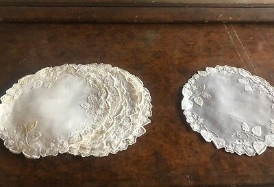 Set Of 11 Vintage White Cotton & Organdy Madeira Hand Embroidered Small Doilies