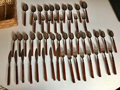 Set Of 50 Wooden BAMBOO Handle Stainless Flatware Rebacraft Reed Barton Vtg MCM