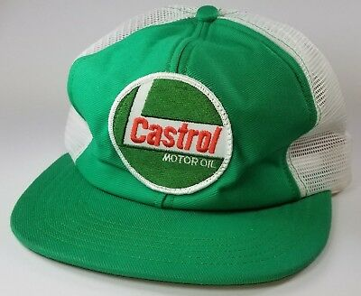 Vintage 1980s Castrol Motor Oil Mesh Trucker Snapback Patch Hat MADE IN USA