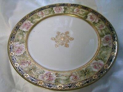 ANTIQUE NIPPON HAND PAINTED ROSES GOLD ENCRUSTED MORIAGE excellent vintage