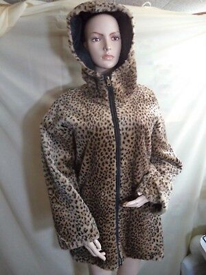 Leopard Faux Fur & Nylon Reversible Hooded Womans L Jacket Zippered Pockets VGC